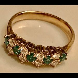 Solid 14K Diamonds and Emerald Ring, S 7.5